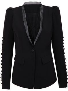 Black Contrast Organza Neck Buttons Embellished Blazer
