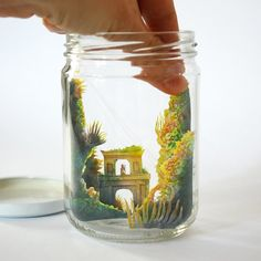 Papercut Scene in Glass Jar is included in Cut Paper Scenes with Watercolor Illustration by Mar Cerdà Cut Paper Illustration, Watercolor Illustration, Paper Cutting, Quilled Roses, Cut Out Art, Folded Book Art, Book Folding, Cool Paper Crafts, Book Sculpture