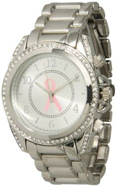 Designer Geneva Breast Cancer Awareness Pink Ribbon Metal Link Bracelet Style Rhinestones Watch Exquisite Collections. $13.74. Silver Linked Metal Band. Silver dial featuring a Breast Cancer Awareness pink ribbon. Bring Awareness. Show your support!. Fold-over Clasp. Save 69% Off!