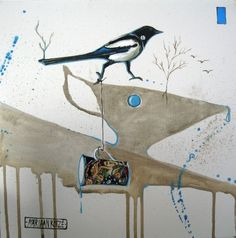 Magpie pouring inspiration, painting by Mariaan Kotze Furniture Decor, Painted Furniture, South African Artists, Magpie, Decorative Items, Prints, Paintings, Inspiration, Biblical Inspiration