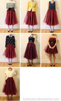 Wear It Five Ways: Midi Length Tulle Skirt