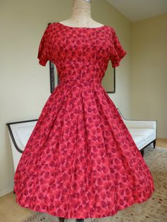 Red Floral Cocktail Party Swing Dress, Vintage 1950's on Etsy, $82.00