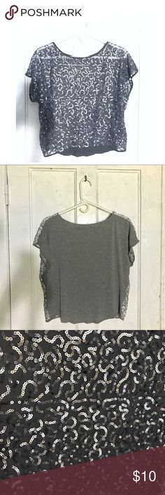 Grey Sequin Crop Top ☠️ • NWOT • None of the sequins are missing • Has some stretch to it • Shell 1: 100% Polyester • Shell 2: 100% Viscose Forever 21 Tops Crop Tops