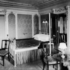 INTERIORS OF THE TITANIC, 1912.  Stateroom