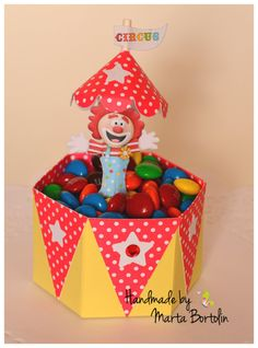Birthday Circus Candy Basket Circus Themed by tracesofcrafts Invitation Cards, Invitations, Paper Cake, Cupcake Wrappers, Favor Boxes, Basket, Candy, Christmas Ornaments, Holiday Decor