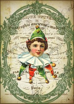 French Circus Green Elf Clown  le Cirque Series Original Art Ready for Framing, Quilt Making, Invitations INSTANT DIGITAL DOWNLOAD