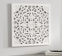 Intricate hand carving gives the Chelsea Medallion Panel the look of an architectural piece. Painted by hand in all-white, this wall art looks especially stunning against a solid-color background that accents the openwork. Wall Art Decor, Wall Art Prints, Wall Decorations, Solid Color Backgrounds, Chelsea, Medallion Wall Decor, Barn Wood Signs, Custom Rugs, Wood Paneling