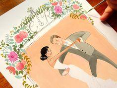Wine Country - custom wedding portrait