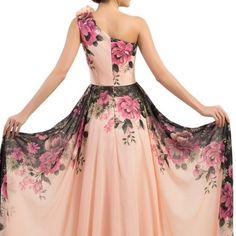 Gorgeous Pink Floral Prom Dress This beautiful floral gown is brand new and has never been worn. It is a size 6 and fits true to size. So stunning!  Dresses One Shoulder