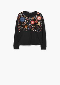 Floral Embroidered Sweatshirt // Mango