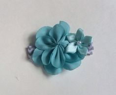 a31671aa9 Items similar to Teal Flowers on Gray/White Chevron Ribbon, Hair Clip, Baby  Girls, Toddler Girl on Etsy