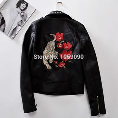 8a8f5f44 black faux leather jacket Picture - More Detailed Picture about Woman  2016aw Woman Fashion Black faux leather jacket back with flowers tigers  embroidery ...