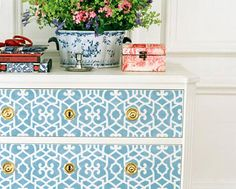 Wall & Furniture Stencil Small Chez Sheik Moroccan Stencil for DIY Decorating and Wall Decor. $29.00, via Etsy.  Use on black laquer malm with white or dk teal drawer fronts, silver leaf stencil  with silver drawer pulls