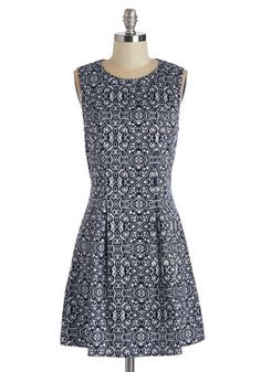 Pond Memories Dress - White, Print, Casual, Sleeveless, Short, Woven, Cotton, Exposed zipper, Blue, Chevron, A-line