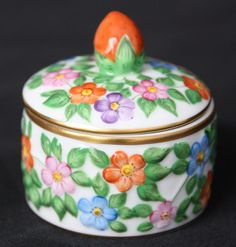 Herend hand painted 6203 strawberry lidded round trinket box flowery fruity  #Herend