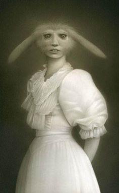 """Another creepy rabbit. :(  (Image from Odd Stuff Magazine, """"20+ Unbelievable and Odd Vintage Style Portraits"""")"""