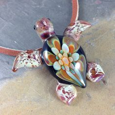 Sea turtle necklace glass beads pendant Handmade custom jewelry Lampwork beads Glass flowers Boro beads on Etsy, $25.00