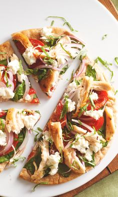 To make this Mediterranean pizza vegetarian, simply swap white beans for the chicken or turkey.