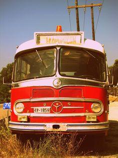 Old Mercedes bus in Karpenissi,Greece