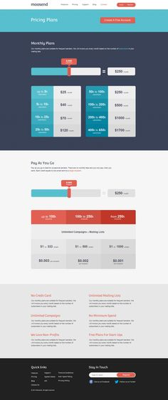 Moosend Pricing Page. This flat color scheme looks very professional. That's important for our collaboration tool.
