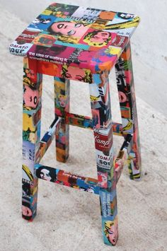 Bench with Decoupage by Andy Warhol! Find that Original Gift you are looking for! We make Custom Objects, write to josefinacamara @ gm . Art Furniture, Funky Painted Furniture, Classic Furniture, Repurposed Furniture, Unique Furniture, Furniture Projects, Furniture Makeover, Lounge Furniture, Furniture Stores