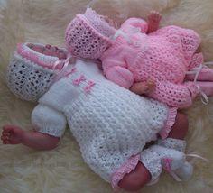 Baby Knitting Pattern - Baby Girls or Reborn Dolls Digital  Download PDF Knitting Pattern  - Romper Set - Romper, Bonnet & Booties