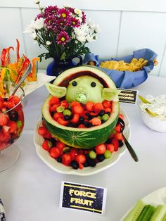Baby Yoda fruit bowl for a Star Wars baby shower