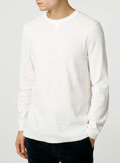 Long Sleeve Ecru Waffle T-Shirt - TOPMAN
