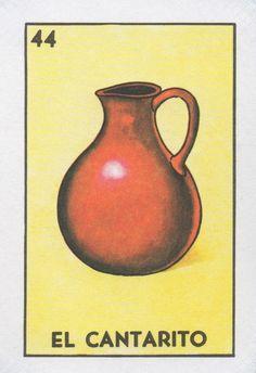 "44 El Cantarito (The Water Pitcher) ""Tanto va el cántaro al agua, que se… Mexican Paintings, Loteria Cards, Mexican Designs, Bottle Cap Images, Mexican Party, Quilling Designs, Bingo Cards, Mexican Folk Art, Card Games"
