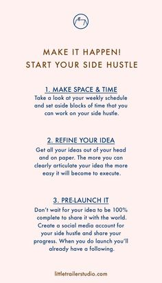 Make it Happen! Start Your Side Hustle Today! Here are three quick tips you can do to get the ball rolling on your side hustle. Click through to read the full post.