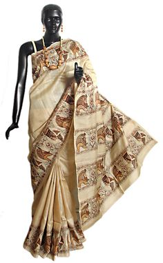 Hand Painted and Embroidered Designer Tussar Saree with Border and Pallu (Silk Tussar))
