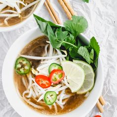 This chicken pho recipe is so EASY! You'll learn what's in chicken pho noodle soup, how to make it in 30 minutes, and what to top it with! Easy Chicken Pho Recipe, Chicken Pho Soup, Vietnamese Salad Rolls, Vietnamese Pork, Beef Back Ribs, Beef Ribs, Pho Noodle Soup, Pork Recipes, Healthy Recipes