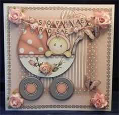 Baby Girl in Pram. 8 x 8 boxed decoupaged card. Available from: www.therhodaharveycollection.co.uk