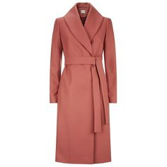 Reiss Lennie Long Wrap Coat (23,275 PHP) ❤ liked on Polyvore featuring outerwear, coats, long wool blend coat, red coat, wrap coat, long red coat and long wrap coat