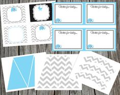 Custom Printable Blue Elephant and Chevron Baby Shower Party Package.  Blue Elephant Birthday Party Package.  Custom Printable Party Pack.. $30.00, via Etsy.
