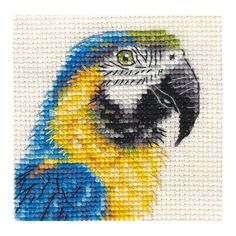 BLUE & YELLOW MACAW, PARROT counted cross stitch kit in Collectables, Animals, Birds | eBay