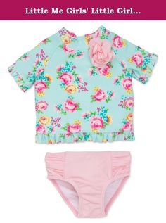 Girls Aqua Mint Long Sleeve Rash Guard and Bikini Bottom 2-Piece Swim Set