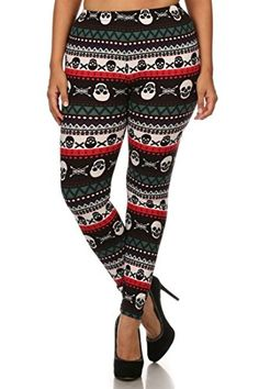 NioBe Womens Plus Size Fashion Design Leggings Collection 2 Multicolor Skull ** More info could be found at the image url. (Note:Amazon affiliate link)