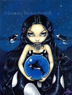 Orca Magic killer whale fairy art print by Jasmine by strangeling