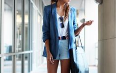 White shorts and blazer