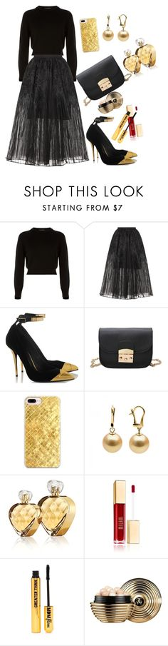 """Black and Gold"" by esii-li ❤ liked on Polyvore featuring Helmut Lang, Elie Saab, Casetify, Untold, Nasty Gal and Guerlain"