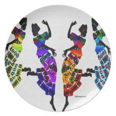 African Foot Dance Dinner Plates