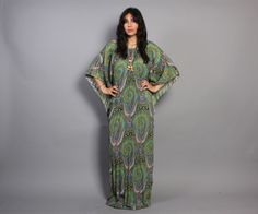 Vintage 70s Pleated Green + Purple Paisley CAFTAN Boho Maxi DRESS