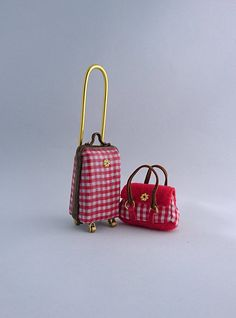 Set of trolley suitcase and handbag scale 1/12 for dollhouse. Price contains shipping. by TuulasBoutique on Etsy