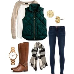 A fashion look from August 2013 featuring J.Crew sweaters, J.Crew vests and J Brand jeans. Browse and shop related looks.