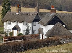 english village cottages in the winter