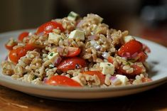 Farro, Red Onion, Mozzarella, Olive, & Tomato Salad (good for potlucks and picnics) | Food52