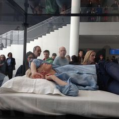 """Unusual art: Tilda Swinton, actress sleeps in box at MoMA"", art piece was created by Swinton herself and artist Cornelia Parker. It is titled, ""The Maybe. Tilda Swinton, Museum Of Modern Art, Art Museum, Cornelia Parker, Sleep Box, Moma Nyc, Galleries In London, Unusual Art, Glass Boxes"