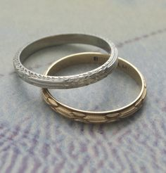Edwardian Floral-pattern Wedding Bands