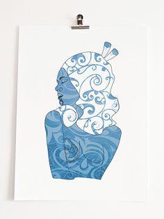 Bronwyn Waipuka Kura Gallery Maori Art Design New Zealand Mana Wahine Series Framed Digital Print Te Moana Polynesian Art, Maori Designs, New Zealand Art, Maori Art, Buy Prints, Art Boards, Printmaking, Digital Prints, Aurora Sleeping Beauty